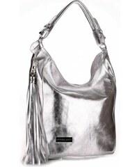 Kožená kabelka VITTORIA GOTTI Made in Italy stříbrná
