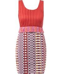 Pinko Kleid mit grafischem Muster und Fransenbesatz