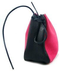 Ostatní Kožený MAXI měšec růžový-černý