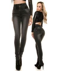 KouCla Dámské džíny High Waist DD600-368C Barva: Černá,