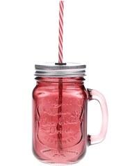 Červená uzavíratelná sklenice s brčkem Kitchen Craft