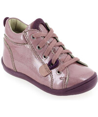 Bottines Enfant fille Noel en Cuir vernis Rose