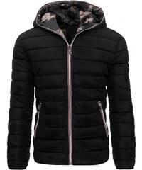 Moderní atraktivní černá pánská prošívaná bunda