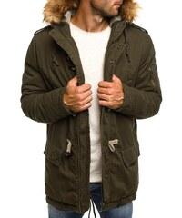 J. Style Trendy zateplená pánská bunda khaki s kapucí J.STYLE 507