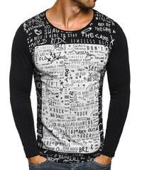 Breezy Klasické černé moderní tričko s dlouhým rukávem a potiskem OZONEE 9108