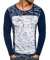 Breezy Tmavě modré stylové tričko s dlouhým rukávem a potiskem OZONEE 9108
