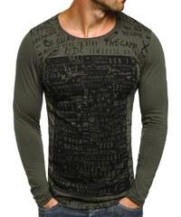 Breezy Moderní khaki tričko s dlouhým rukávem a potiskem OZONEE 9108