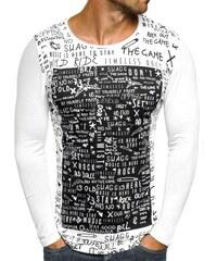 Breezy Tenké pánské tričko s dlouhým rukávem a potiskem OZONEE 9108 BIELE