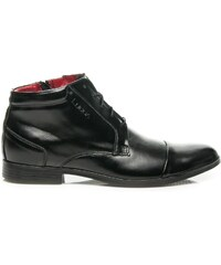 LUCCA Elegantní moderní kotníkové lesklé černé boty