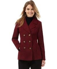 DASH Krátký tmavě červený kabát s knoflíkami v hnědé barvě