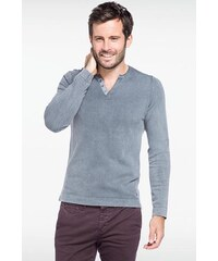 Pull homme col tunisien Vert Coton - Homme Taille L - Bonobo