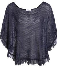 Poncho à franges maille fantaisie Bleu Acrylique - Femme Taille 0 - Cache Cache