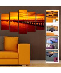 Lesara 5 Panneaux muraux coucher de soleil sur la jetée