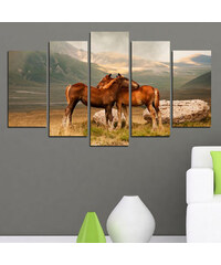 Lesara 5-teiliges Wandbild Pferde & Berge