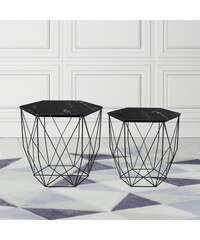 Lesara Lot de 2 tables d'appoint avec structure métallique
