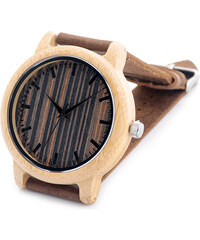 Real_Leather Leder-Armbanduhr mit dreifarbigem Holzzifferblatt