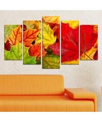 Lesara 5-teiliges Wandbild Herbstblätter - Design 2
