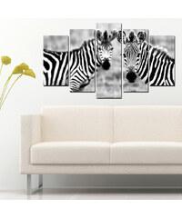 Lesara 5-teiliges Wandbild Zebra - Design 1