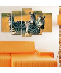 Lesara 5-teiliges Wandbild Zebra - Design 2