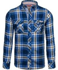 Tmavě modrá pánská kostkovaná košile s dlouhým rukávem Bolf 5094 beb5941934