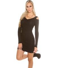 KouCla Úpletové mini šaty s průstřihy DS8995C Barva: Černá,
