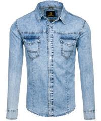 8fed51a19f1 Blankytná pánská džínová košile s dlouhým rukávem Bolf 4416