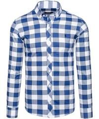 Tmavě modrá pánská kostkovaná košile s dlouhým rukávem Bolf 0773 cbfa5f0c5a