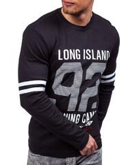 58eba530360 Černé pánské tričko s dlouhým rukávem s potiskem Bolf 4244