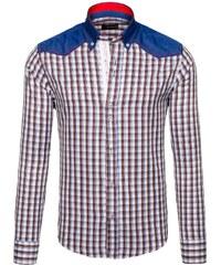 Hnědá pánská kostkovaná košile s dlouhým rukávem Bolf 6861 9f6a1fdf28