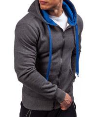 9525218f458 Antracitovo-královsky modrá pánská mikina s kapucí Bolf 2074-2