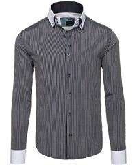 Pánská černá elegantní pruhovaná košile s dlouhým rukávem Bolf 0909 d123589e21