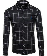 Černá pánská kostkovaná košile s dlouhým rukávem Bolf 0280 04acbdc0cc