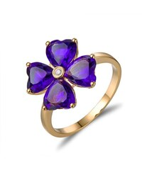 Eppi Zlatý prsten s ametysty a diamantem Star