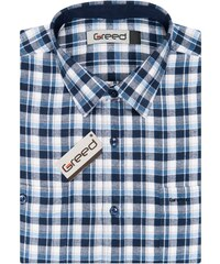 AMJ Pánská košile GREED flanelová modrá kostkovaná SDF337 92092cf3c3