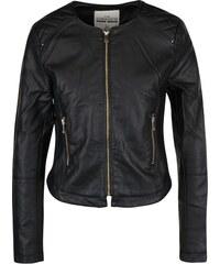 Černá koženková bunda se zipem ve zlaté barvě TALLY WEiJL