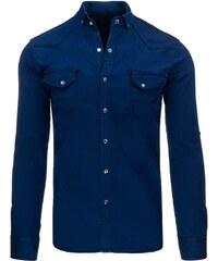 Pánská moderní tmavě modrá džínová košile