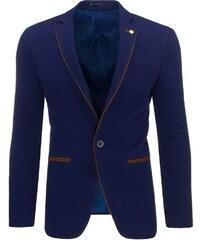Tmavě modré moderní sako s hnědými doplňky