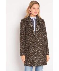 Manteau droit imprimé Noir Laine - Femme Taille 1 - Cache Cache