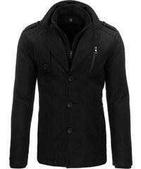 Moderní zimní pánský černý kabát