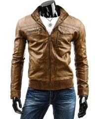 Coolbuddy Karamelová pánská bunda z eko-kůže 2664 Velikost: XXL