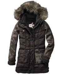 Zimní prošívaný dámský kabát KHUJO M hnědá