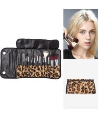 Lesara 12-teiliges Make-up-Pinsel-Set mit Leo-Tasche
