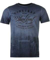 Firetrap Lee Cooper Cooper Mixed Fabric T Shirt Mens Mood Indigo