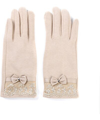 Lesara Touchscreen-Handschuhe mit Kunstleder-Schleife - Beige
