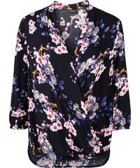 BODYFLIRT Bluse mit Blumen-Druck 3/4 Arm in blau von bonprix