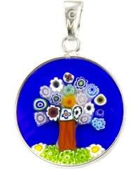 Murano Přívěsek skleněný - stříbro 925 - modrá - obrázek stromu - Millefiori 18