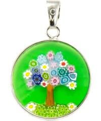 Murano Přívěsek skleněný - stříbro 925 - zelený strom - Millefiori 18