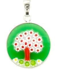 Murano Přívěsek skleněný - stříbro 925 - obrázek stromu - zelený, barevný - Millefiori 18
