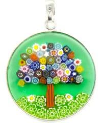 Murano Přívěsek skleněný - stříbro 925 - barevný strom, zelená - Millefiori 26