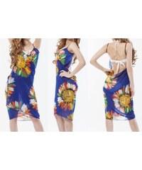 LM moda Plážové zavinovací šaty s květy modré